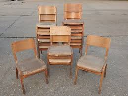 12x vintage mid century wooden stacking school chairs in two similar designs plastic70 plastic