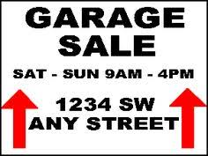 Printable Garage Sale Sign Template Download Them Or Print