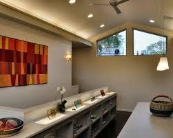vaulted ceiling lighting. Trendy Dark Wood Floor Home Office Photo In Austin With Beige Walls Vaulted Ceiling Lighting