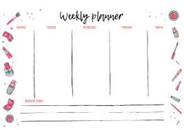 Weekly Planner Template For Daily Activity Organizer With To