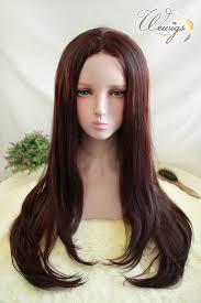 Lw056 วกผมกาว Lace Front ไหมทนรอน ผมยาวตรงปลายงม สนำตาลแดง ผมหนา เนยนสวยสมจรงมากๆคะ