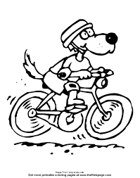 Small Picture Dog Riding a Bicycle Free Coloring Pages for Kids Printable