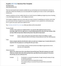 Free 10 One Page Business Plan Samples In Ms Word Pages Pdf
