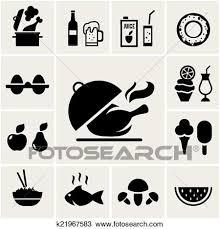 セット の 黒 シルエット 食物アイコン クリップアート切り張りイラスト絵画集