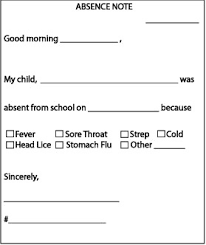 Absence Note Sight Words Reading Writing Spelling Worksheets