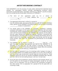 Music Contract Music Recording Contract Template Studio Sample Agreement Forms