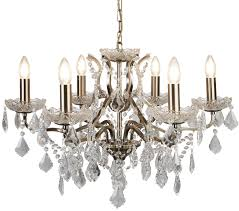 searchlight paris 6 light chandelier antique brass finish with clear crystal drops trim 8736 6ab