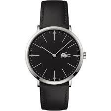lacoste men s black ultra slim leather moon watch watches from men 039 s black ultra slim leather moon watch