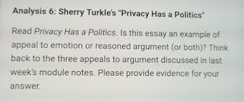 analysis sherry turkle s privacy has a politic com analysis 6 sherry turkles privacy has a politics privacy has a politics is