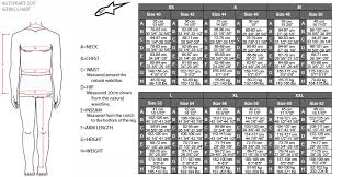 K1 Race Gear Size Chart Alpinestar Suit Sizing Charts
