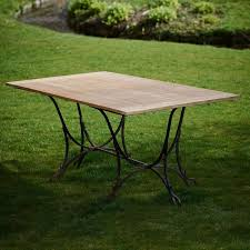 wrought iron teak garden table