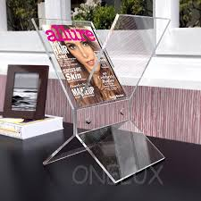 Clear Acrylic Magazine Holder Impressive Freestanding Clear Acrylic Magazine RackLucite Newspaper Brochure