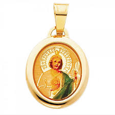 details about saint jude san judas tadeo enameled picture charm 14k yellow gold oval pendant