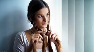 Tapety Tvář ženy Model Portrét Odvrátila Dlouhé Vlasy