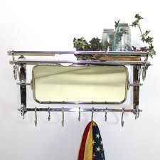train rack with mirror luggage coat hanger wall mounted