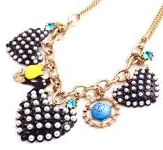 details about enamel ceramic heart flower bird gold crystal rhinestone beaded pendant necklace