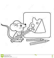 coloring page outline of cartoon little mouse with pencils with drawing cheese coloring book for kids