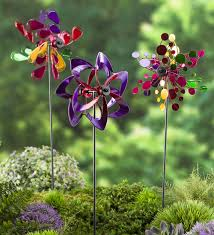 pinwheel mini garden wind spinners with garden stake set of 3 in multi com