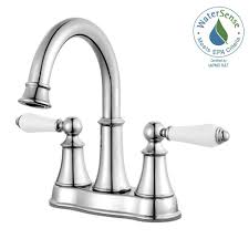 centerset 2 handle bathroom faucet in polished chrome with white handles