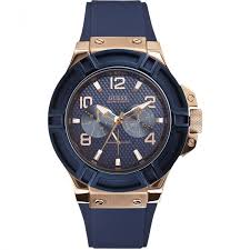 buy men s guess watches authorised uk shop francis gaye men s rose tone rigor blue strap watch