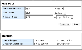 Us Highway Mileage Chart Use The Gas Mileage Calculator To Save Money On Gasoline