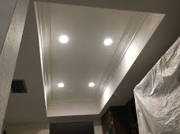 tray lighting. Demoed Old Lighting, Mud And Textured 4x8 Tray Ceiling, Installed 4 Inch 2700k Recessed Lights, Prepped Crown, Painted Crown Molding Installed, Lighting T