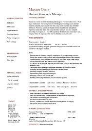 Human Resources Manager Resume Job Description Template Sample