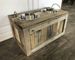 raised dog bowls with storage food stand inside bowl