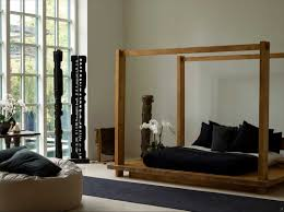 Zen Living Room Decorating Interior Rustic Low Canopy Bed Wood Bed For Zen Home Decor Ideas
