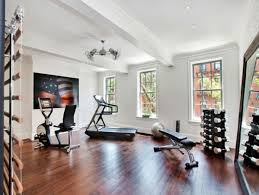 Decorating: Home Gym Design With Wood Floor - Home Gym