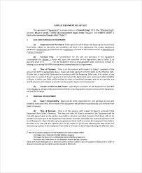 Equipment Bill Of Sale. Printable Sample Equipment Bill Of Sale ...