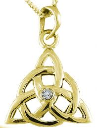 14k gold coated silver diamond 03cts irish celtic knot pendant necklace