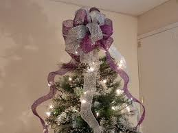 Large Purple And Silver Glitter Mesh Christmas Tree Topper Bow Purple Christmas Tree Bows