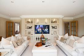 traditional living room with tv. Drywall Wall Designs Living Room Traditional With White Ottoman Tv Neutral Color Scheme R