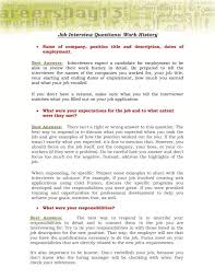 How To Answer Job Interview Questions Job Interview Questions Work History
