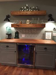Rustic bar with IKEA cabinets and beverage center #Basement bar  Basement  Dry Bar IdeasWet ...