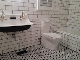 bathroom subway tile floor. Subway Tile And Beadboard Bathroom Floor