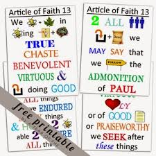 Articles Of Faith Memorization Chart Article Of Faith