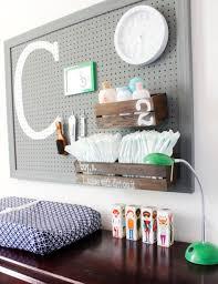 Grey Pegboard For Nursery Organization