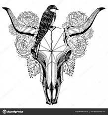птица на тату череп быка векторное изображение Katerinjiyuu