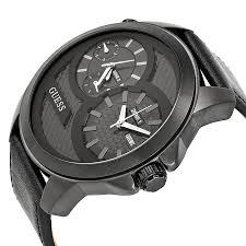 guess black dial black leather strap men s watch u0184g1 watches guess black dial black leather strap men s watch u0184g1