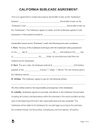 Sample Sublease Agreement Free California Sublease Agreement Template Word Pdf