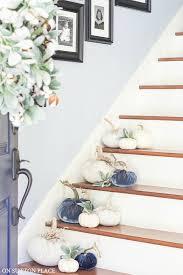 foyer decorating ideas for fall open front door pumpkins on stairway