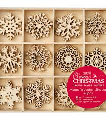 papermania create wooden shapes in tray large snowflakes