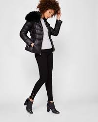 ted baker womenswear collection clothing black polyamide junnie faux fur collar quilted jacket womens faux fur coats