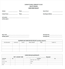 Sample Meeting Request Template For Facilities Work Order Form
