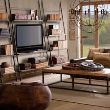Living Room Modern Retro Bedroom Design With Brown Sofa And Round - Modern retro bedroom