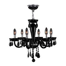 worldwide lighting gatsby collection 6 light chrome chandelier with black crystal hand blown glass