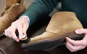 step 4 re brush shoes with horn backed suede cleaning brush