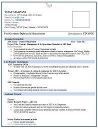 Sample Resumes For Freshers In Finance Resume Corner